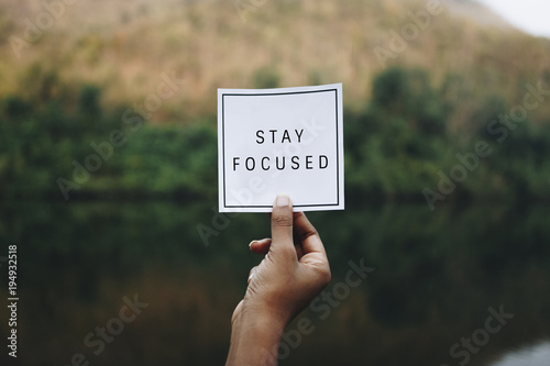 Cuadros en Lienzo Stay focused text in nature inspirational motivation and advice concept
