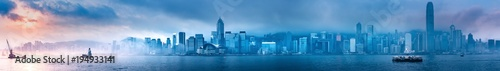 Foto auf Gartenposter Blau Jeans Hong Kong morning cityscape panorama from across Victoria Harbor