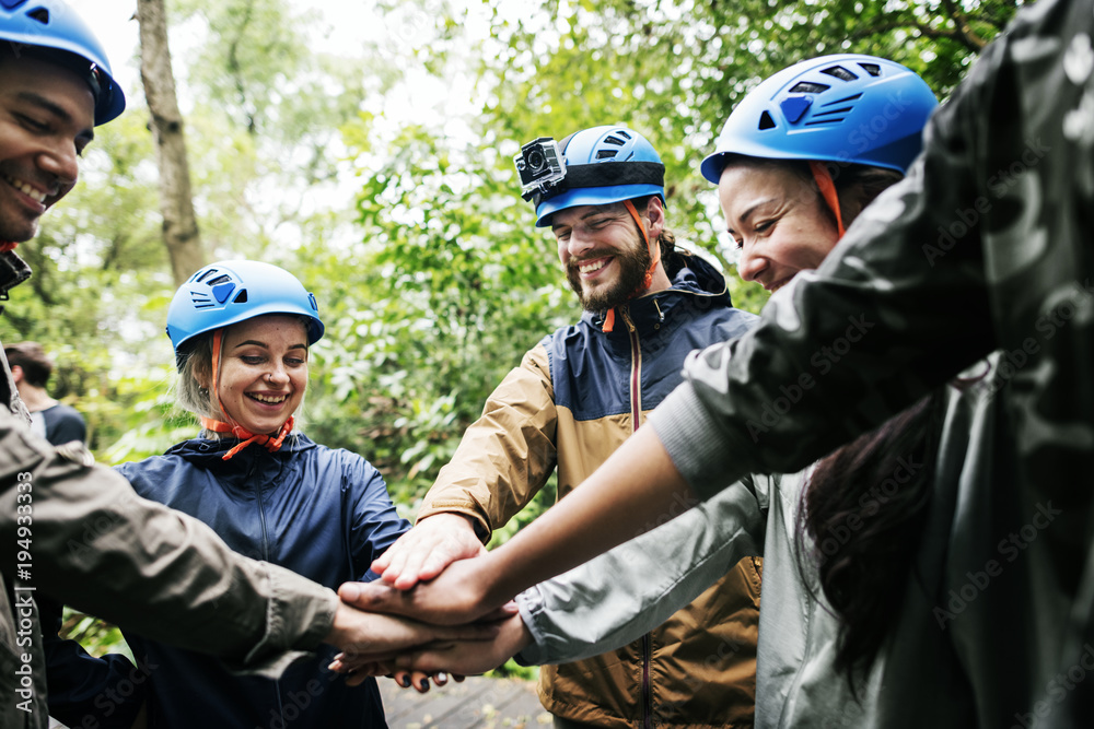 Fototapety, obrazy: Team building outdoor in the forest