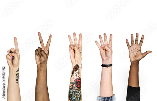 Diversity hands with numberic sign Poster Mural XXL