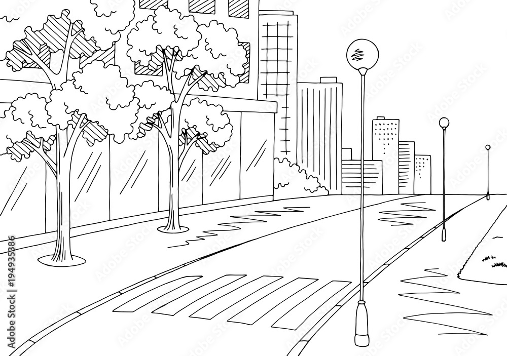 Fototapeta Street road graphic black white city landscape sketch illustration vector