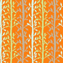 Grunge Tree Leaves Seamless Pattern. Orange Scrapbooking Design Background. Vector Illustration.