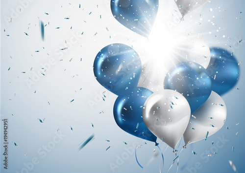 celebration and party background with colorful flying balloons,confetti glitters for event and holiday poster Fototapete
