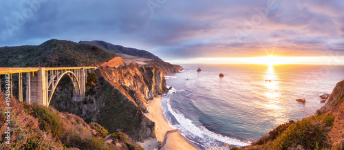 Cote Bixby Creek Bridge on Highway 1 at the US West Coast traveling south to Los Angeles, Big Sur Area, California