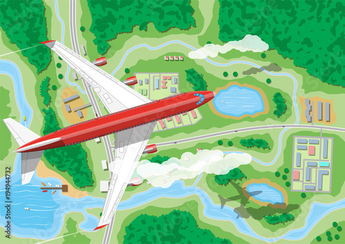 Poster de jardin Route Airplane flies above land