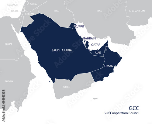 Map of the Gulf Cooperation Council (GCC)'s members. Vector Wallpaper Mural
