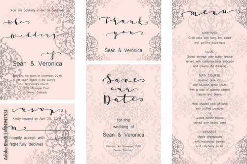 Save The Date Card Wedding Invitation Greeting With Beautiful Fl Pattern And Letters