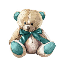 Hand Drawn Watercolor Children's Toy Teddy Bear