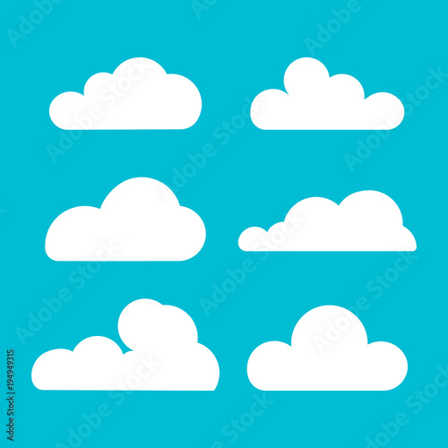 Foto op Plexiglas Hemel Cloud. Set of silhouette in flat style. Collection of cloud icon , shape, label, symbol. Graphic element vector. Vector design element for logo, web and print. Illustration