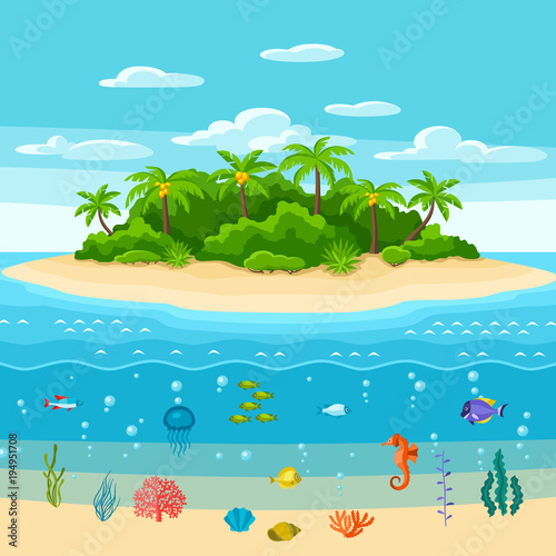 Spoed Foto op Canvas Turkoois Illustration of tropical island in ocean. Landscape with ocean, palm trees and underwater life. Travel background