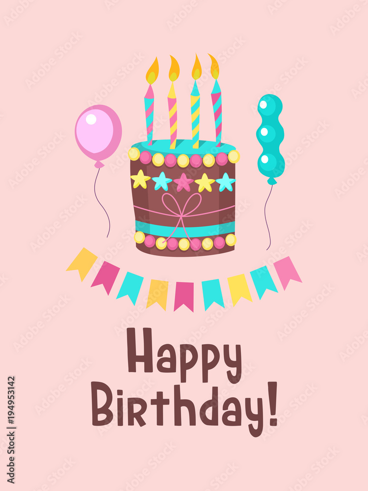 Happy Birthday Greeting Card Lovely Cakes With Candles Foto Poster Wandbilder Bei EuroPosters