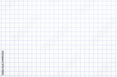 Fotografie, Obraz  Real white grid paper texture or background School notebook
