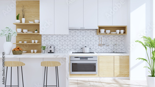 Fotografie, Obraz  Modern kitchen room interior,wood Stool with mable counter bar and modern furniture ,white pantry room