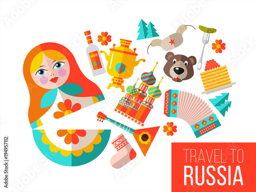 Fotografie, Tablou  Welcome to Russia. Vector illustration.