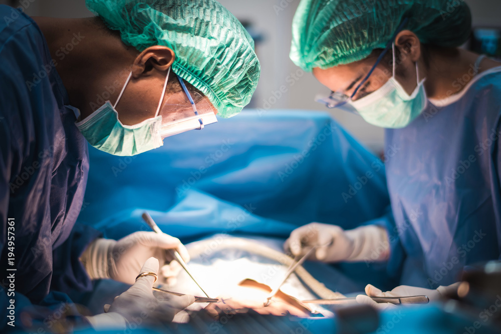 Fotografía team of surgeons working in the operating room, medical concept