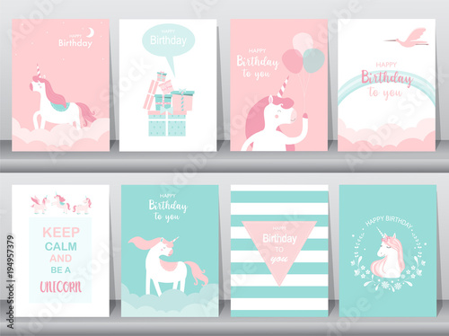Foto auf Gartenposter Cartoon cars Set of birthday cards,poster,invitations, cards,template,greeting cards,animals,unicorn,fantasy,magic,cloud,Vector illustrations