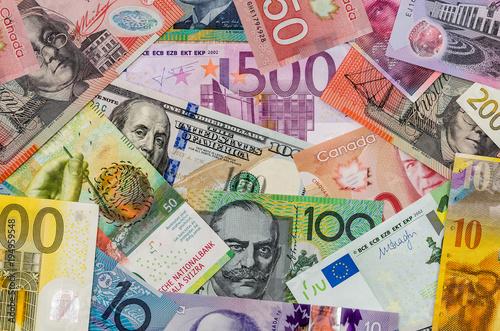 American dollars, European euro, Swiss franc, Canadian