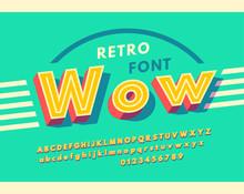 Bright Alphabet Retro Style. V...
