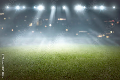 Photo  Soccer field with blur spotlight