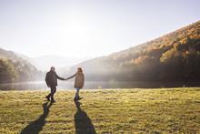 Senior Couple On A Walk In An ...