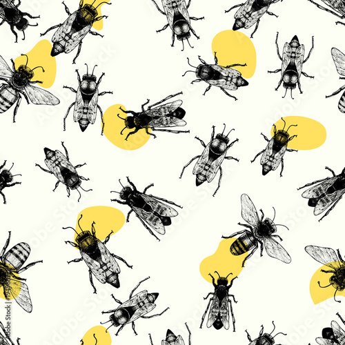 Cotton fabric Vector retro hand drawn seamless vector pattern with crawling bees. Vintage style. Inteligent illustration