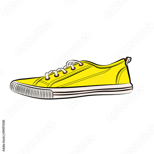 cbab8355a860c4 Yellow sneakers icon. Flat illustration of sneakers vector icon isolated on  whitebackground