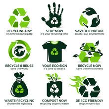 Flat Icon Set For Eco Friendly...