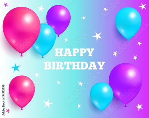 Photo  Happy Birthday Background Glossy Balloons and Star