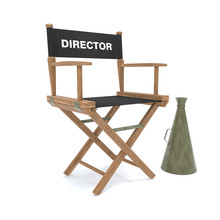 Wood Director Chair With Black...