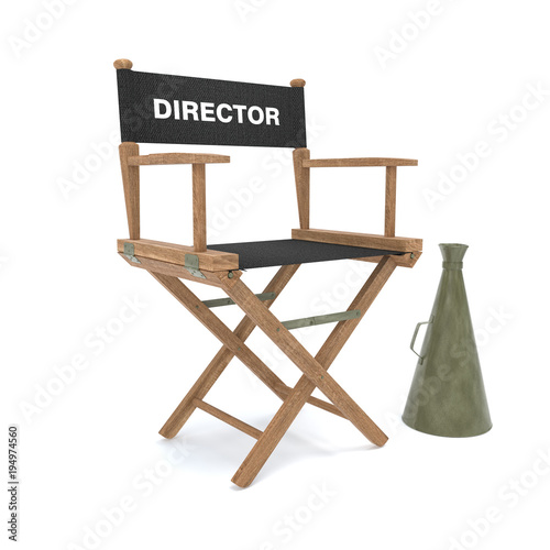 Fotografie, Obraz Wood director chair with black clothes with bullhorn on white background- 3D Ill