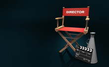 Wood Director Chair With Red C...