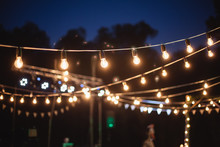 A Garland Of Light Bulbs In Th...