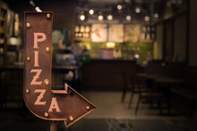 Pizza Shop Signboard, In Front Of The Store . Retro Style