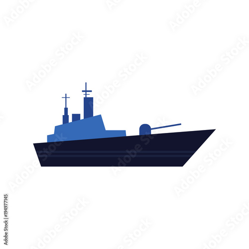 Flat style warship, battleship, armoured naval vehicle icon, vector illustration isolated on white background Canvas Print