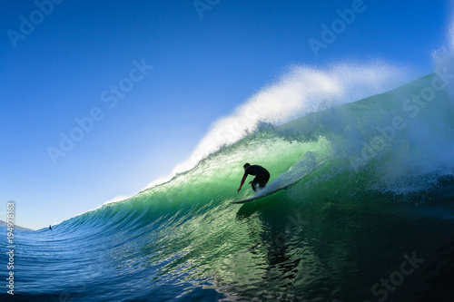 Surfing Surfer Tube Ride Ocean Wave Water Photo