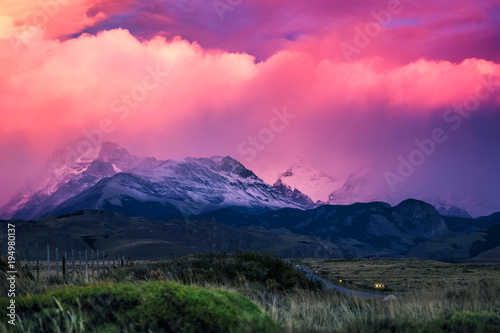 Foto auf Leinwand Landschaft Mountains and rainy clouds during sunrise. Los Glaciares National Park, area near the town of El Chalten and Fitz Roy mountain, Argentina