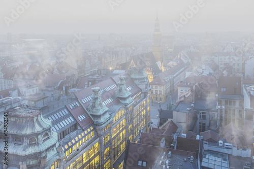 Smog nad miastem - Wrocław, zimowy widok na panoramę miasta Poster