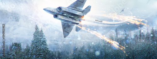 An air battle of two fantastic aircraft in the in winter sky in the mountain landscape Canvas Print