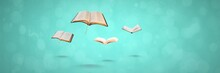 Flying Books On Blue Background