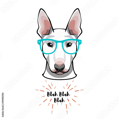 Fotografiet Bull Terrier dog geek in glasses -  illustration
