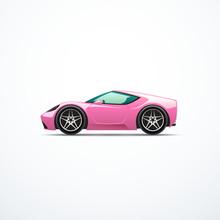 Vector Pink Cartoon Sport Car. Side View