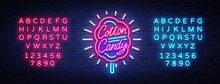 Cotton Candy Neon Sign. Cotton Candy Logo In Neon Style Symbol Banner Light, Bright Cotton Candy Night Advertising, Billboard. Design Template. Vector Illustration. Editing Text Neon Sign