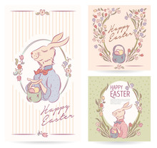 Happy Easter Card With Eggs, E...