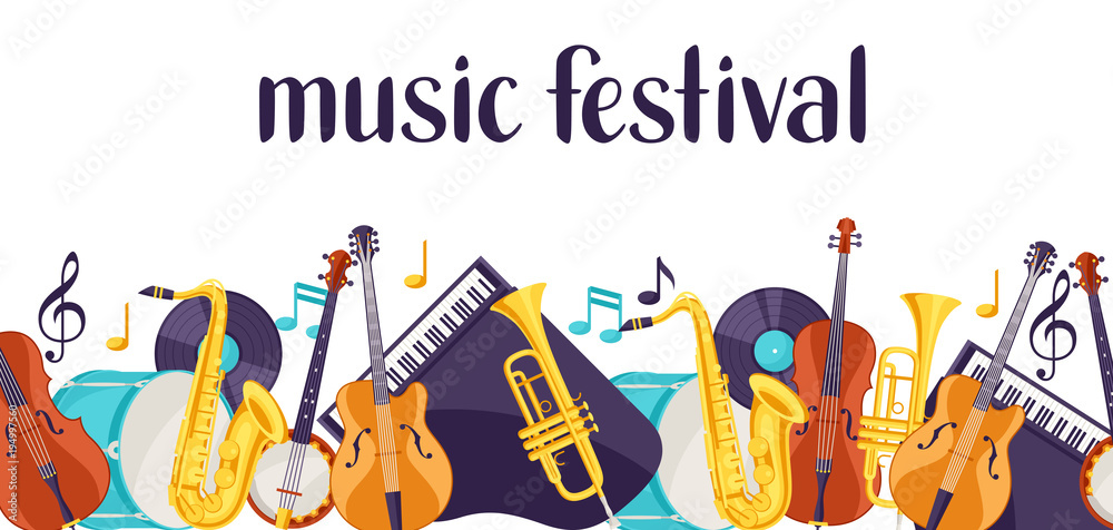 Fototapeta Jazz music festival banner with musical instruments