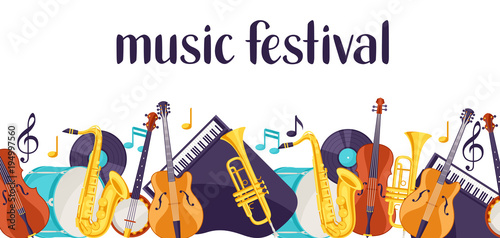 Fotografie, Obraz  Jazz music festival banner with musical instruments