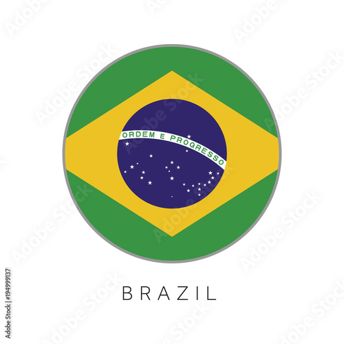 Foto  Brazil flag round circle vector icon
