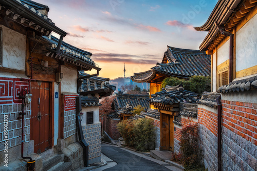 Autocollant pour porte Seoul Bukchon Hanok Village of seoul city in Korea.