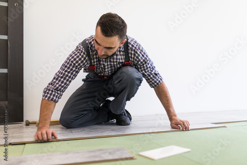 Fotografie, Obraz  Carpenter worker installing laminate flooring in the new room
