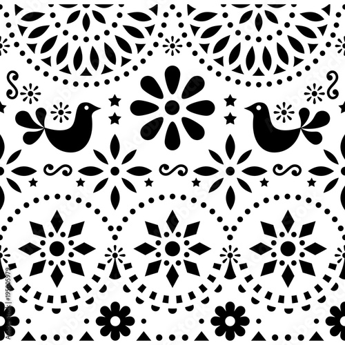 Fotografija  Mexican folk art vector seamless pattern with birds and flowers, black and white