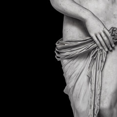 Fototapeta Erotyka Marble body lines of young naked Roman woman at black background